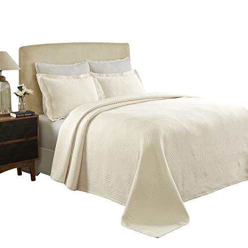 Artesia 100% Cotton Woven Jacquard Matelassé Bedspread Set, Wave Pattern, Best Bed Cover, Over-Sized Bedding, Raised Embossed Design, Soft, Breathable, Medium Weight, Queen Size, Ivory
