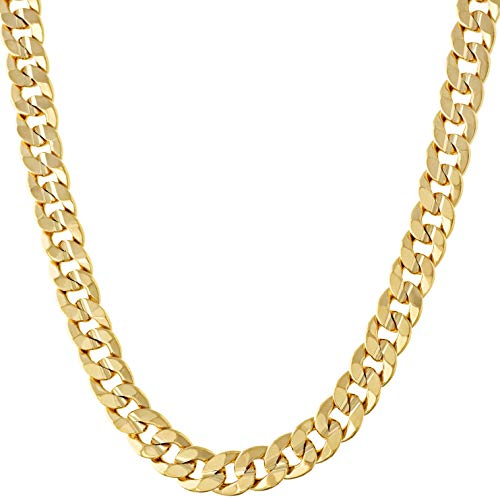 LIFETIME JEWELRY 6mm Cuban Link Chain Necklace 24k Gold Plated for Men and Women (Gold, 20)