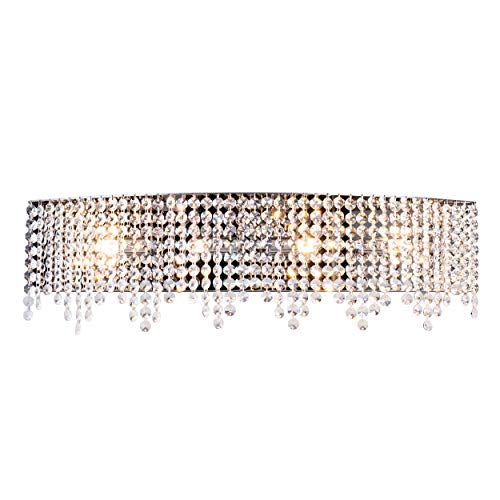 Luenfat Crystal Bathroom Vanity Lights, Glam Crystal Wall Scones Lighting Fixture for Living Dining Room, 24 Wide,4-Lights, Linear Stainless Steel Wall Chandelier with Sparking Clear Crystal Fittings