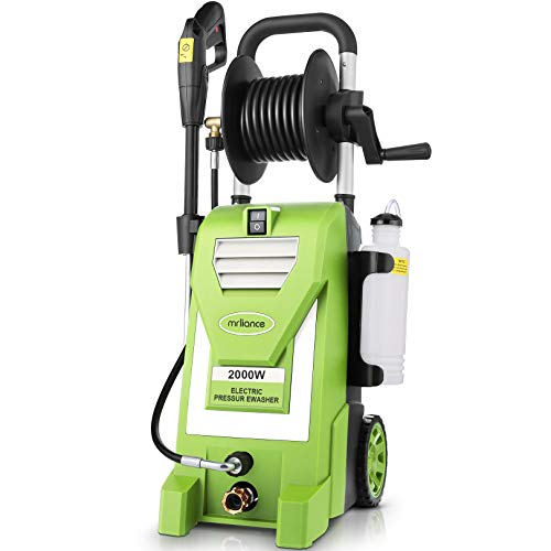 mrliance 3.0 GPM Electric Pressure Washer, 3800PSI High Pressure Washer, 5-in-1 Nozzels for Cars Fences Patios Garden   Motor Update   Soap Bottle   Green