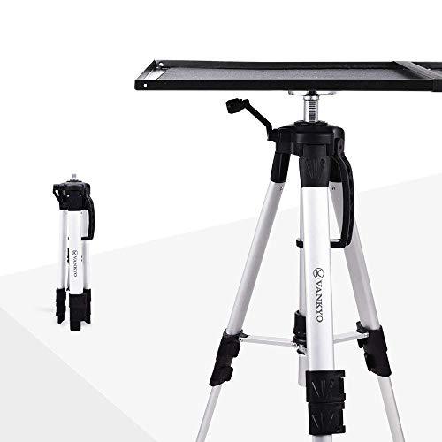 VANKYO Beamer-Ständer Aluminium Bodenständer für Projektor,Universal Stativ Ständer,verstellbar Beamertisch für Beamer Laptop mit Höhe von 17,7'' bis 47,2'' (Silber)
