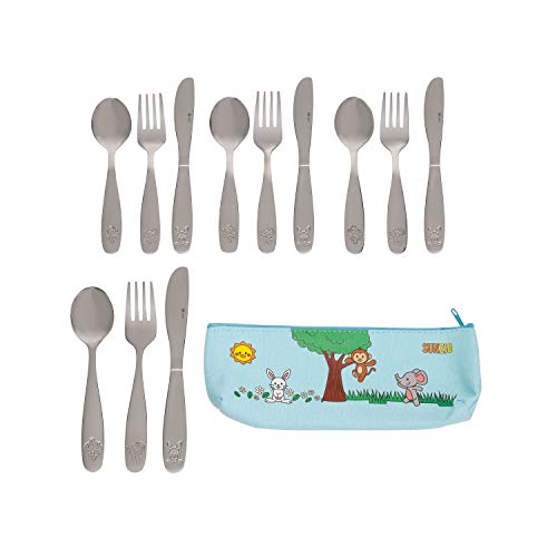 SunZio 18/10 Stainless Steel Kids Silverware Set | 12 Piece Child and Toddler Safe Flatware | Children Utensils Metal Cutlery Set with 4 Small Knives, 4 Forks, 4 Spoons