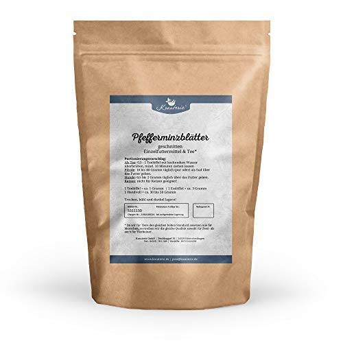Krauterie Pfefferminze in hochwertiger Qualität, frei von jeglichen Zusätzen, als Tee oder für Pferde und Hunde (Mentha x piperita) – 500 g