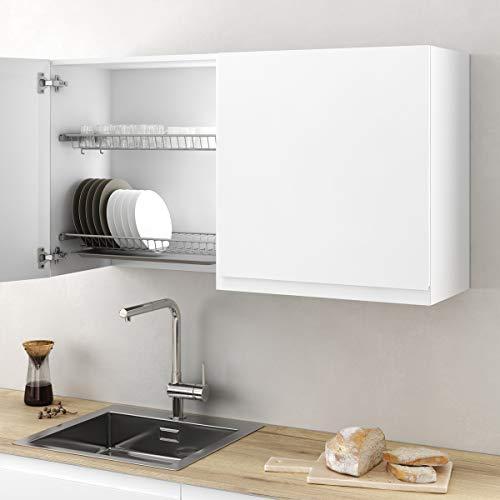 Casaenorden - Kit Escurridor de platos y vasos de acero con bandeja recoge aguas para mueble de cocina, Ancho 565 mm
