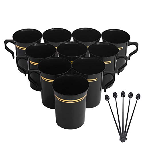 Nervure 60 Pack Black Plastic Coffee Mugs with 60 PCS Black Coffee Stirrers - 8oz Disposable Coffee Cups with Handles & 5inch Coffee Stirrers - Plastic Tea Cups with Gold Rim for Wedding and Party