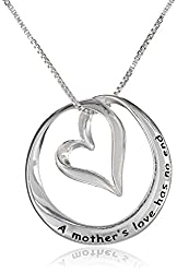 Sterling Silver A Mother's Love Has No End Open Heart Circle Pendant Necklace
