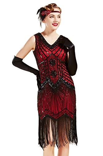 Babeyond Vestito Gatsby Donne 1920s Vestito Abito Anni 20 Donna Flapper Dress 1920s Vestito da Sera Paillette Impreziosito Frange Gatsby Dress Senza Maniche Rosso Tg M / EU 40-42