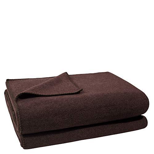 Soft-Fleece-Decke – Polarfleece-Decke mit Häkelstich – flauschige Kuscheldecke –  110x150 cm – 880 dark brown – von 'zoeppritz since 1828'