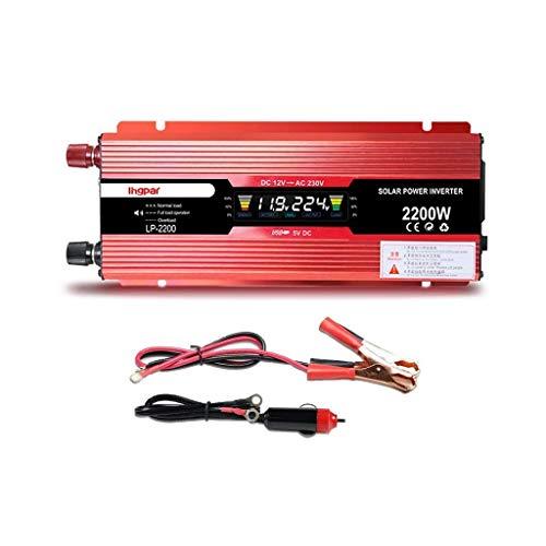 QTCD Inversor de Corriente para vehículos automotrices, 1200W-2400W, 12V 24V a Fuente de alimentación para vehículos de Onda sinusoidal modificada Ac220v, 2200W, 24V