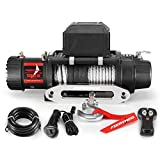 FIERYRED 13000lb. Electric Truck Winch Synthetic Rope, Waterproof Off Road Winch for Jeep,Truck,SUV with Wirless Remote & Corded Control