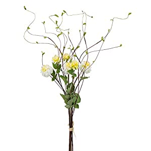 "Contemporary Home Living Set of 6 Light Yellow and Green Artificial Zinnia Flower Bundle, 34"""