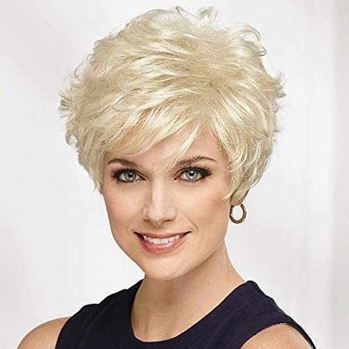 Emmor Short Platinum Blonde Human Hair Wigs for Women Blend Pixie Cut Wig With Bang,Natural Daily Use Hair (Color 600#)