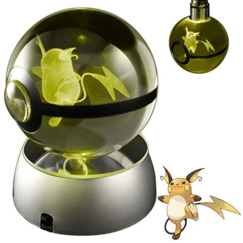 COOLINKO 3D Crystal Ball LED Night Light with LED Keychain Laser Engraving (Raichu)