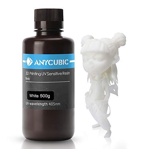 ANYCUBIC 405nm Rapid Resin pour imprimante 3D Photon DLP LCD UV Résine d'impression 500ml, Blanc