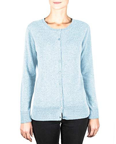 CASH-MERE.CH 100% cashmere - Cardigan da donna con scollo rotondo a 2 fili Azzurro S