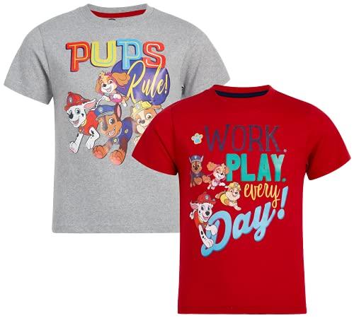 Nickelodeon Baby Boys' T-Shirt – 2 Pack Paw Patrol, Spongebob Tee (Toddler/Boy), Size 4, Red/Grey Pups Rule