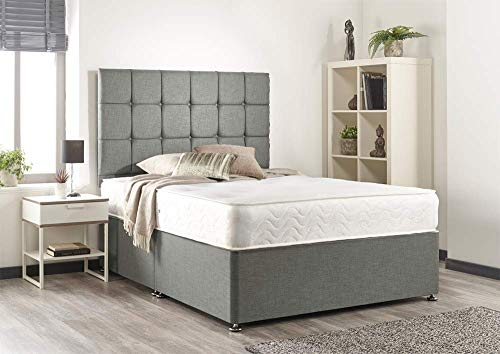Bed Centre Silver Linen Memory Foam Divan Bed Set With Mattress, 2 Drawers (Bottom Base) And Headboard (Small Double (120cm X 190cm))