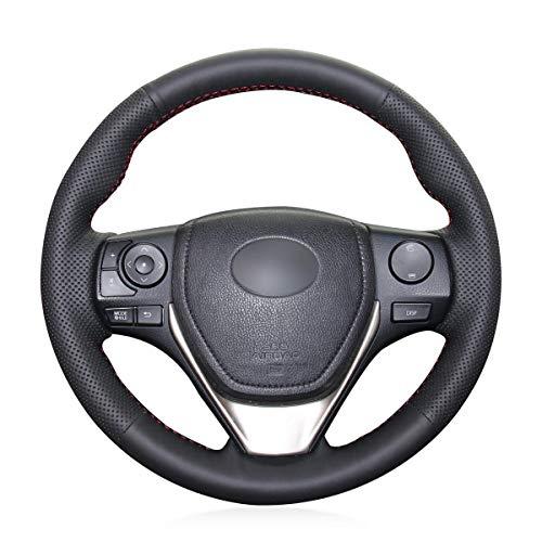 Shining wheat Housse de volant en cuir noir pour Toyota Corolla 2014-2019 RAV4 2013-2018 Corolla iM 2017 2018 Auris 2013-2016 Scion iM 2016