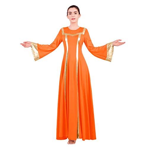 IBTOM CASTLE Vestido largo para mujer, color metálico, vestido litúrgico, maxi danza, iglesia, oración, cuello redondo, yoga, baile, baile, fiesta, regalos sexys para mujeres y adultos