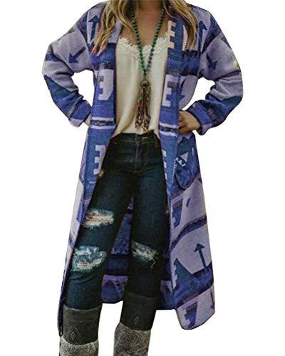 Tomwell Mujeres Cárdigans Manga Larga Suelta Chaqueta de Punto Jersey de Suelta Punto Frente Abierto con El Bolsillo Azul 36
