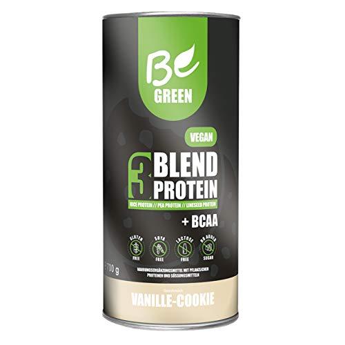 BeGreen® Protein Pulver 3Blend vegan Shake - Vanille-Cookie Geschmack – 700 g - 77% Eiweiss aus Reis-, Erbsen-, und Leinsamenprotein + BCAA + B12 – laktosefrei, glutenfrei ohne Zuckerzusatz
