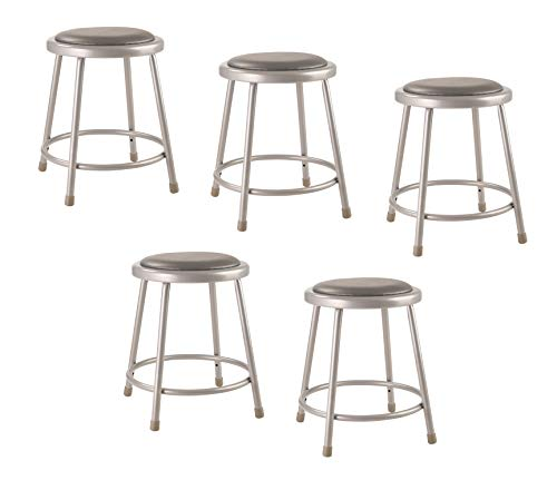 National Public Seating 6418-CN Steel Stool with 18' Vinyl Upholstered Seat, Grey (Pack of 5)