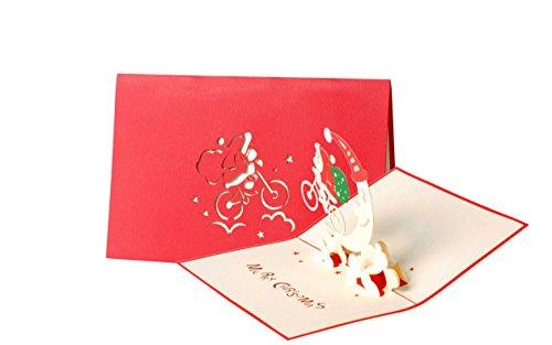 Diese-Klappkarten Weihnachten Heitere Santa auf Fahrrad 3D Pop-Up Karte | Lustig Froh Weihnachtskarte mit Umschlag W25