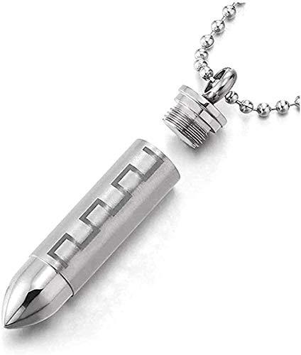 Collar de caja de pastillas de bala de acero inoxidable para hombre, collar con colgante conmemorativo, llave griega, cadena de bolas de 23 6 pulgadas
