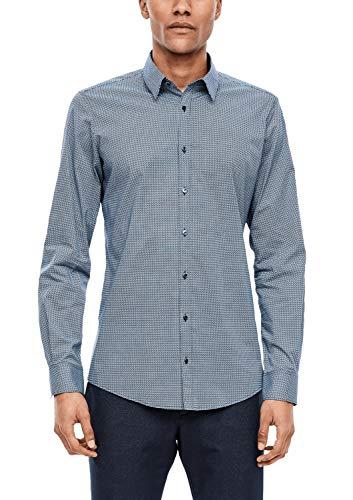 s.Oliver Herren 02.899.21.5441 Hemd Langarm Businesshemd, Light Blue AOP, (Herstellergröße: 43)