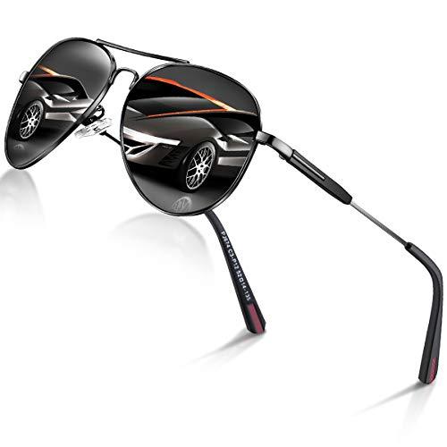 DADA-PRO Sonnenbrille Herren Pilotenbrille Damen Polarisiert Verspiegelt Retro Fahren Fahrerbrille UV400 Schutz für Autofahren Reisen Golf Party und Freizeit (Schwarz)