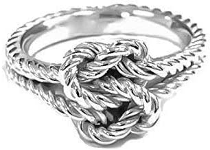 Silver Love Knot Rings True Lovers Knot Gift Hand Woven Nautical Knot Ring