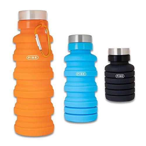 PIBE Botella Plegable, Botella de Agua Plegable de 500 Mililitros Fabricada en Silicona BPA Free para Deporte, Senderismo, Ciclismo, Acampada, Camping. Sin BPA, Apta para Contenido Alimenticio (Negro)