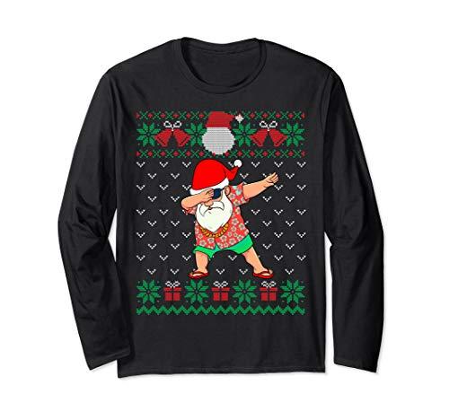 Dabbing Santa, Ugly Christmas Sweater July Hawaiian Dab Xmas Long Sleeve T-Shirt