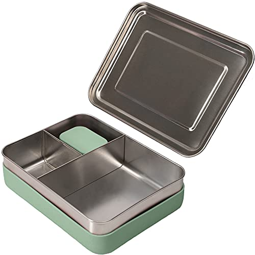 WeeSprout 18/8 Stainless Steel Bento Box (Large) - 3 Compartment Metal Lunch Box, Skid-proof Silicone, for Kids & Adults, Bonus Dip Container, Fits in Lunch & Work Bags, Dishwasher & Freezer Friendly