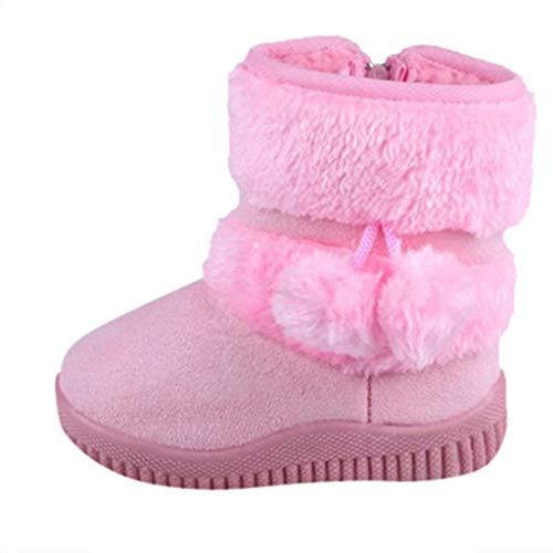 TTLOVE Kleinkind Kinder Babyschuhe Jungen Mädchen Winter Warme Schneeschuhe Stiefel Outdoor Schneestiefel(Rosa,34 EU)