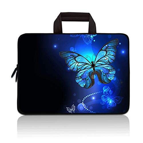 14 15 15.4 15.6 inch Laptop Handle Bag Computer Protect Case Pouch Holder Notebook Sleeve Neoprene Cover Soft Carrying Travel Case for Dell Lenovo Toshiba HP Chromebook ASUS Acer(Blue Butterfly)