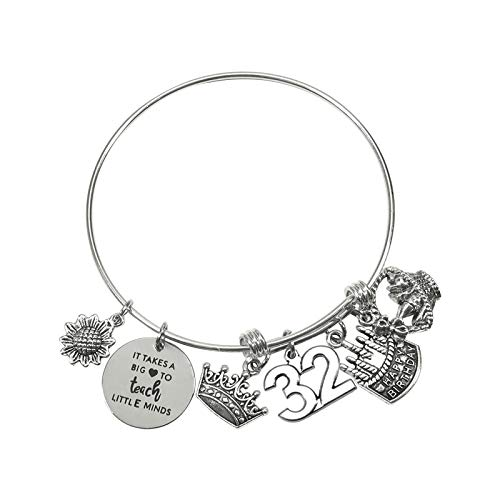 TUUXI 1pcs Birthday Gifts Bracelet 2.36 Inch Silver Tone Steel Bangle Charm Bracelet 32th Birthday Gift for Sister Friend Women Wife Girl Present Jewelry