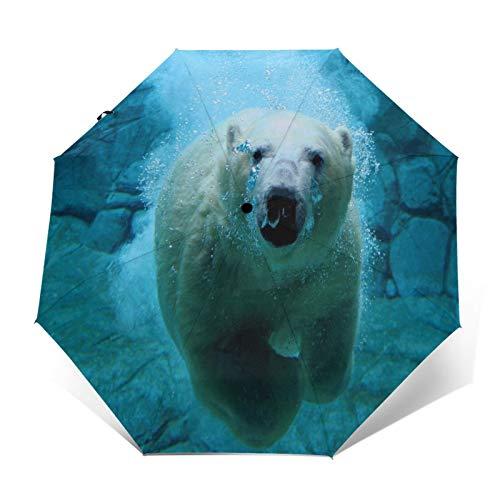 TISAGUER Paraguas automático de Apertura/Cierre,Osos Animales Naturaleza Osos Polares Mar Agua,Paraguas pequeño...