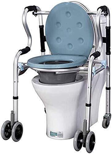 WUYUESUN Caminante de cuatro patas, silla de ruedas, muletas silla móvil de altura ajustable, silla de cómoda con ruedas móviles, cómoda móvil, silla de inodoro wc, silla de baño portátil
