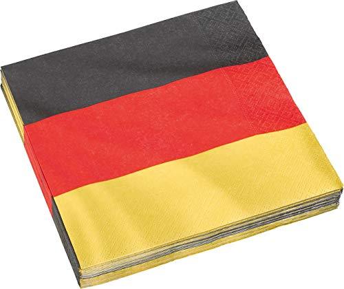 20 Papierservietten im * DEUTSCHLAND * für Party und Geburtstag von DH-Konzept // Servietten Napkins Feier Fete Set Mottoparty schwarz rot gold gelb Germany BRD