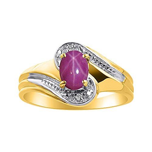 Juego de anillos de rubí de diamante y estrella en oro amarillo de 14 quilates – piedra de color anillo de nacimiento