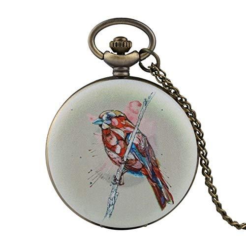 IOMLOP Reloj de bolsilloColorido búho pájaro Relojes de Bolsillo de Cuarzo MujeresRelojBlancoHombres Reloj analógico Collar Colgante Regalos de Lujo para niños niñas, 3