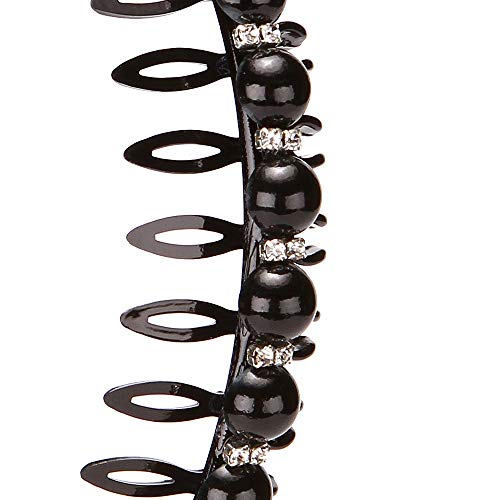 LONEEDY 3 Pack Fashion Faux Pearl and Rhinestones Hard Headbands, Non-slip Teeth Hairband Hair Accessories for Women …