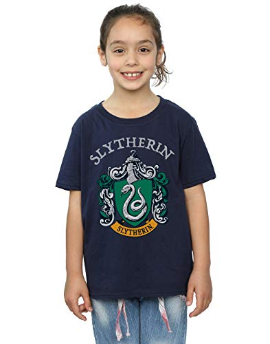 Harry Potter Mädchen Slytherin Crest T-Shirt Navy Blau 9-11 Years