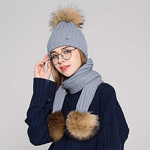 SOROPTLE Pompoms Ski Hoed Sjaal Set Winter Cap Dames Outdoor Katoen Blends Gebreide Hoed Vrouwelijke Warm Dikke Beanies Sjaal