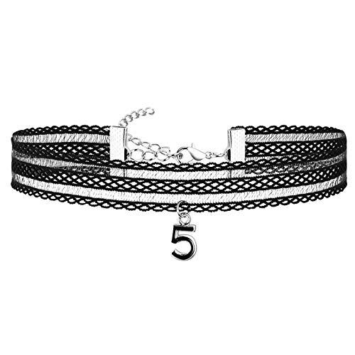 Epinki Halskette aus Edelstahl, Nummer 5 Gothic Tattoo-Halskette Silber Schwarz Für Damen