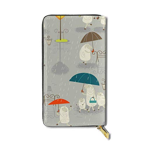 Raining Sheep Large Capacity Zip Around Slim Billfold PU Leather Wallet Card Holders for Men Women Boy Girl