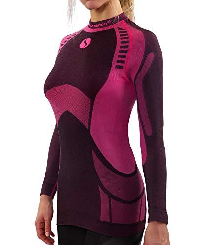 Sesto Senso Donna Intimo Termico Maglia a Maniche Lunghe T-Shirt Funzionale Biancheria Intima Termoattivo (L, Rosa)