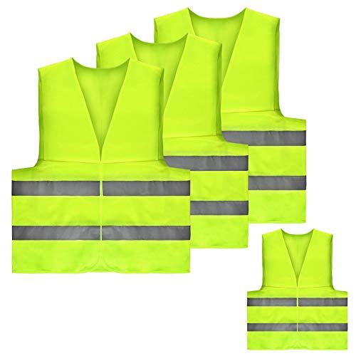 su ma 4 Chaleco de Reflectante, Chalecos de Seguridad amarillo Reflectante, Chaleco Reflectante de Alta Visibilidad, Transpirable, Unisex, Reflectante Malla Ropa, Utilizado en situaciones de alerta