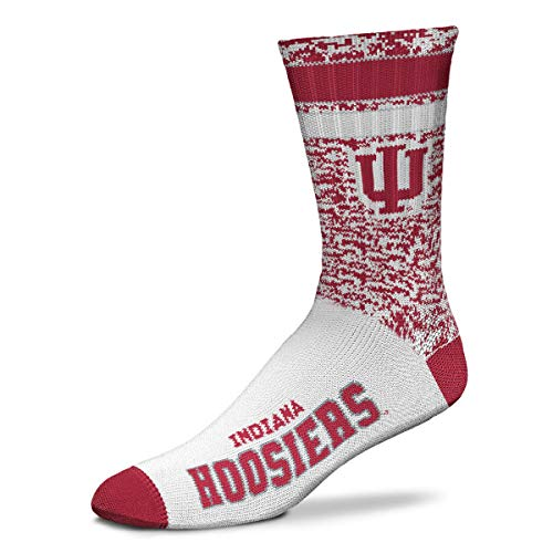 For Bare Feet NCAA Retro Deuce Crew Socks - Medium & Large Available (Large (Fits Sizes 10-13), Indiana Hoosiers)